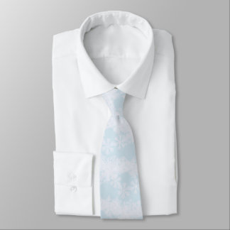 Men's Tie-Christmas Snowflakes-Ice Blue Tie
