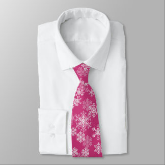 Men's Tie-Christmas Snowflakes in Magenta Pink Tie