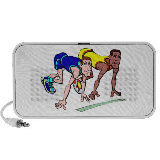 Men's Track and Field Runners Design Doodle iPod Speakers
