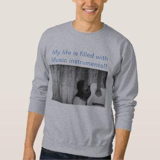 Men's  trendy  light  gray  music   sweat tshirt