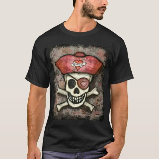 Men's Valentine's Day Pirate Black T-Shirt