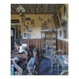 Men's Victorian Barber Shop Interior Poster