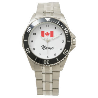 Men's watches with custom name and Canadian flag