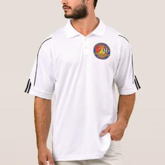 Men's white Adidas polo with 50th Anniversary logo