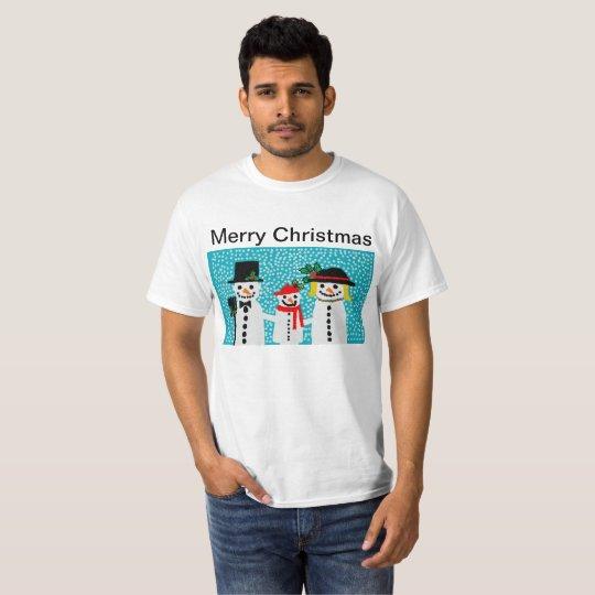 mens white christmas t shirt with snowmen