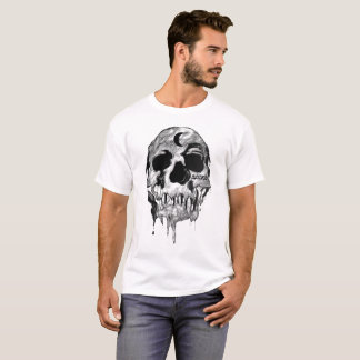 Men's White Dripping Judged Skull T - Shirt