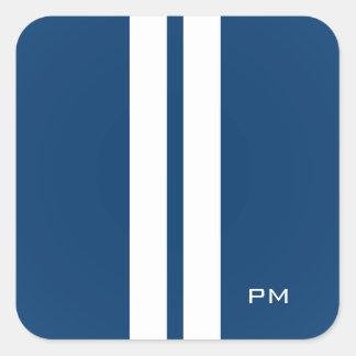 Mens White Racing Stripes Midnight Blue Square Sticker