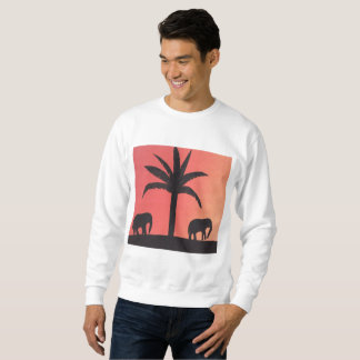 Men's White Sweatshirt with Elephant Design