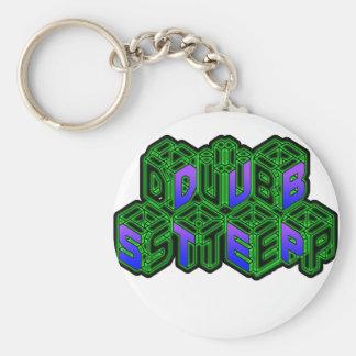 Mens Womens 3D Neon Cubes logo DUBSTEP Basic Round Button Key Ring