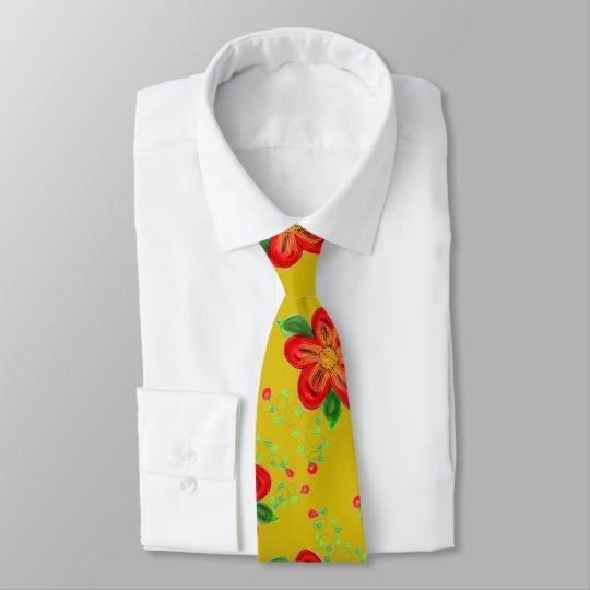 Menswear Red Flowered Tie With Golden Mustard