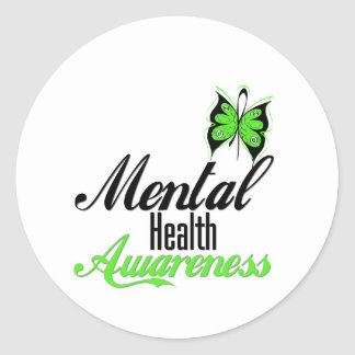 Mental Health Awareness Butterfly Round Stickers
