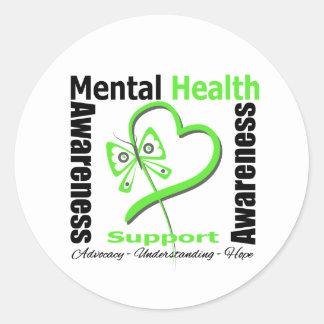 Mental Health Awareness Heart Butterfly Ribbon Round Sticker