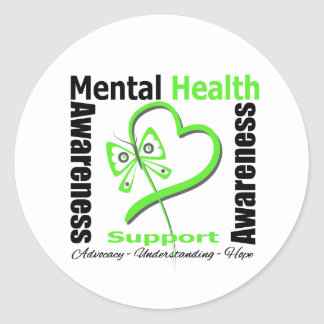 Mental Health Awareness Heart Butterfly Ribbon Round Stickers