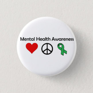 Mental Health Awareness - Love, Peace, Awareness 3 Cm Round Badge