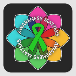 Mental Health Awareness Matters Petals Square Stickers