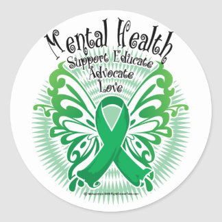 Mental Health Butterfly 3 Round Stickers