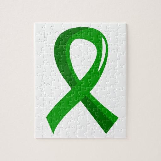 Mental Health Green Ribbon 3 Jigsaw Puzzles