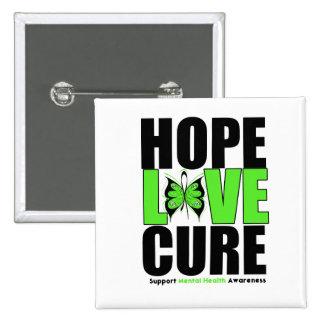 Mental Health - Hope Love Cure 15 Cm Square Badge