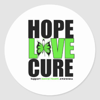 Mental Health - Hope Love Cure Round Stickers