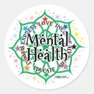 Mental Health Lotus Round Sticker