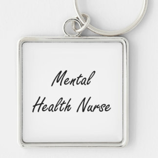 Mental Health Nurse Artistic Job Design Silver-Colored Square Key Ring