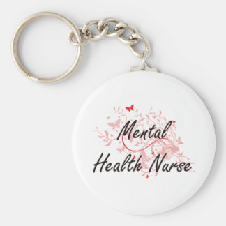 Mental Health Nurse Artistic Job Design with Butte Basic Round Button Key Ring