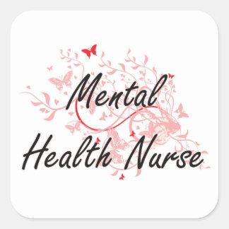 Mental Health Nurse Artistic Job Design with Butte Square Sticker