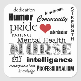 Mental Health Nurse Attributes-Black on White Stickers