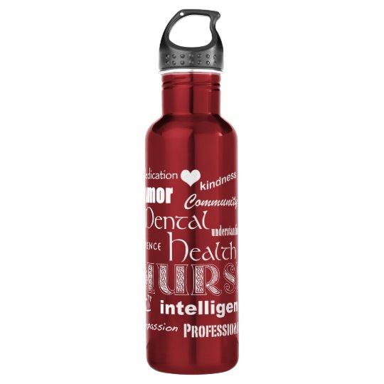 Mental Health Nurse-Attributes/White Text+heart 710 Ml Water