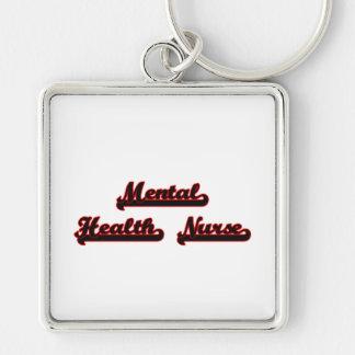 Mental Health Nurse Classic Job Design Silver-Colored Square Key Ring