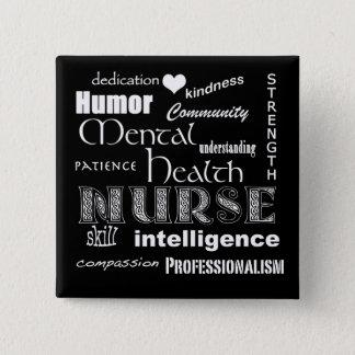 Mental Health Nurse Pride-Attributes/Black 15 Cm Square Badge