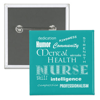 Mental Health Nurse Pride-Attributes/Blue-Green 15 Cm Square Badge