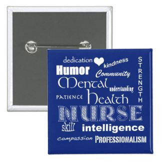 Mental Health Nurse Pride-Attributes/Blueberry 15 Cm Square Badge