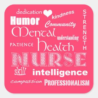 Mental Health Nurse Pride Attributes-Hot Pink Stickers
