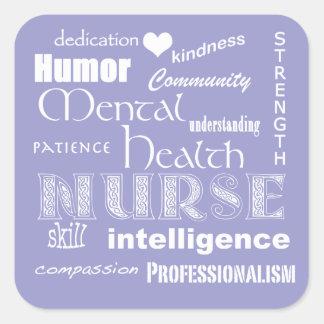 Mental Health Nurse Pride Attributes-Lilac Square Sticker