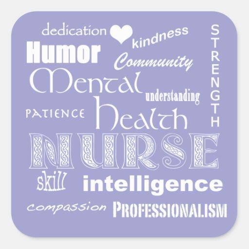 Mental Health Nurse Pride Attributes-Lilac Square Stickers