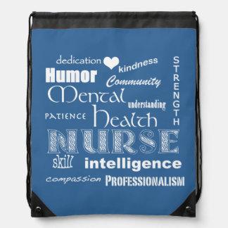 Mental Health Nurse Pride-Attributes/Medium Blue Drawstring Bag