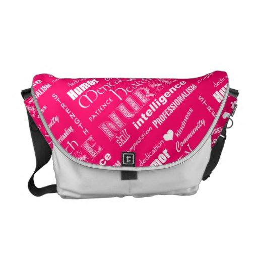 Mental Health Nurse Pride-Attributes/Pink+Heart Courier Bag