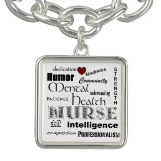 Mental Health Nurse Pride-Attributes+Red Heart Charm Bracelets
