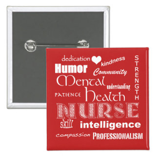 Mental Health Nurse Pride-Attributes/Tomato Red 15 Cm Square Badge