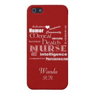 Mental Health Nurse Pride+Heart/Deep Red iPhone 5/5S Cases