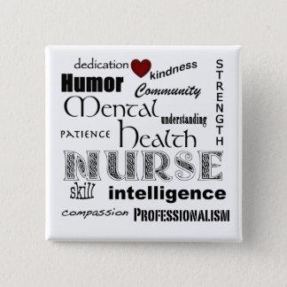 Mental Health Nurse Pride-/White+Red Heart 15 Cm Square Badge