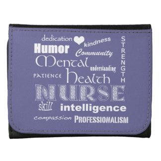 Mental Health Nurse-Word Cloud/Lavender Leather Wallet