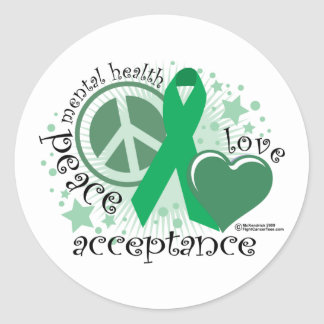 Mental Health Peace Love Acceptance Round Sticker