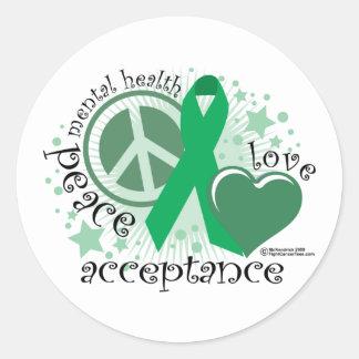 Mental Health Peace Love Acceptance Round Sticker