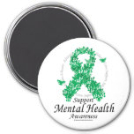 Mental Health Ribbon of Butterflies 7.5 Cm Round Magnet