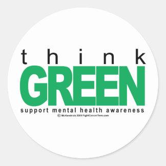 Mental Health Think Green Round Sticker