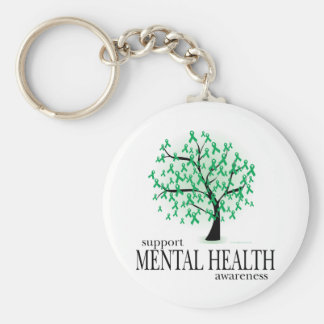Mental Health Tree Basic Round Button Key Ring