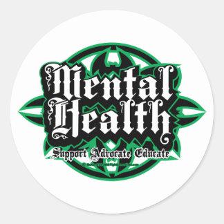 Mental Health Tribal Classic Round Sticker