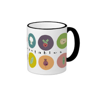 mental vegetables polka ringer mug